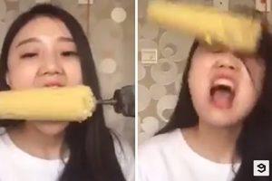 فتاة تأكل الذرة بالدريل وتنتهي تجربتها بكارثة !!!! شاهدوا بالفيديو