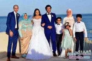 فستان زفاف إيمي سمير غانم يلفت النظر بحفل زفافها بمدينة الجونة بتوقيع المصمم العالمي هاني البحيري