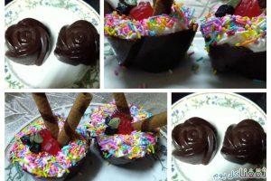 حلو كاسات الشوكولاتة وطريقة عملها بشكلها المميز والشهي بأبسط الطرق والمكونات