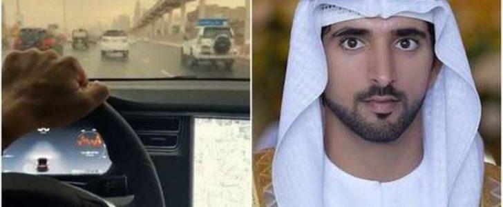 أول سيارة تسلا الكهربائية في الوطن العربي وأول من يقودها ولي عهد دبي الشيخ حمدان بن محمد