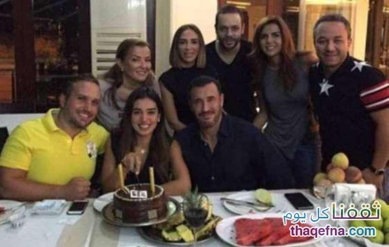 أثناء حضور كاظم الساهر حفل عيد ميلاد المذيعة اللبنانية