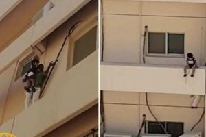 شاهدوا بالفيديو عملية إنقاذ بطولية لـ طفلة الخبر قبل أن تسقط والتفاصيل الحقيقية للحادثة !